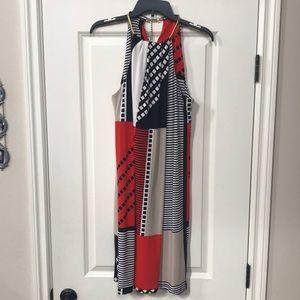 Calvin Klein red, white, and black halter dress with golden neck collar Sz LG